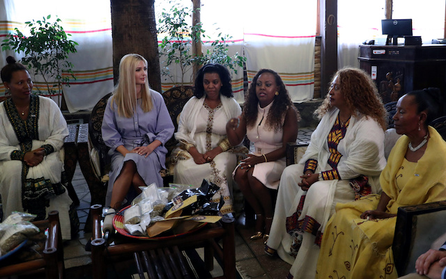 White House Advisor Ivanka Trump attends a meeting with women from the coffee industry during her visit to Addis Ababa